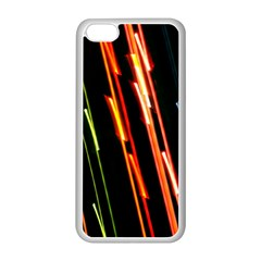 Colorful Diagonal Lights Lines Apple Iphone 5c Seamless Case (white) by Alisyart