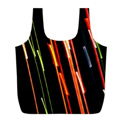 Colorful Diagonal Lights Lines Full Print Recycle Bags (l)  by Alisyart