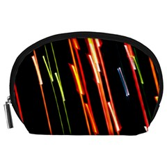 Colorful Diagonal Lights Lines Accessory Pouches (large)  by Alisyart