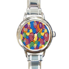 Circles Color Yellow Purple Blu Pink Orange Illusion Round Italian Charm Watch