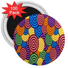 Circles Color Yellow Purple Blu Pink Orange Illusion 3  Magnets (100 Pack) by Alisyart