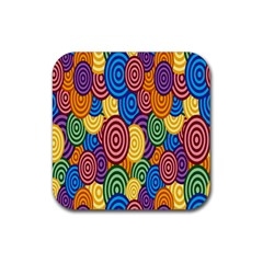 Circles Color Yellow Purple Blu Pink Orange Illusion Rubber Square Coaster (4 Pack)  by Alisyart