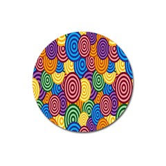 Circles Color Yellow Purple Blu Pink Orange Illusion Magnet 3  (round) by Alisyart