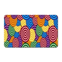 Circles Color Yellow Purple Blu Pink Orange Illusion Magnet (rectangular) by Alisyart