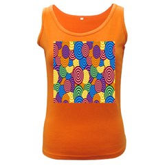 Circles Color Yellow Purple Blu Pink Orange Illusion Women s Dark Tank Top by Alisyart