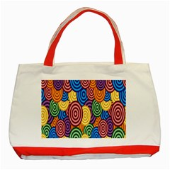Circles Color Yellow Purple Blu Pink Orange Illusion Classic Tote Bag (red) by Alisyart