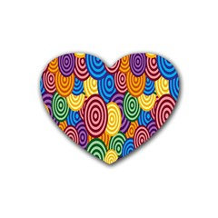 Circles Color Yellow Purple Blu Pink Orange Illusion Rubber Coaster (heart)  by Alisyart