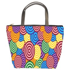 Circles Color Yellow Purple Blu Pink Orange Illusion Bucket Bags