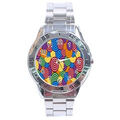 Circles Color Yellow Purple Blu Pink Orange Illusion Stainless Steel Analogue Watch by Alisyart