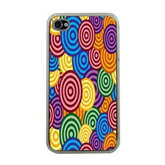 Circles Color Yellow Purple Blu Pink Orange Illusion Apple Iphone 4 Case (clear) by Alisyart