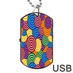 Circles Color Yellow Purple Blu Pink Orange Illusion Dog Tag Usb Flash (two Sides) by Alisyart