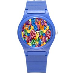 Circles Color Yellow Purple Blu Pink Orange Illusion Round Plastic Sport Watch (s) by Alisyart