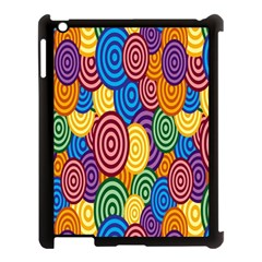 Circles Color Yellow Purple Blu Pink Orange Illusion Apple Ipad 3/4 Case (black) by Alisyart