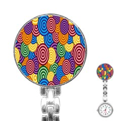 Circles Color Yellow Purple Blu Pink Orange Illusion Stainless Steel Nurses Watch by Alisyart