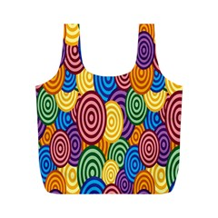 Circles Color Yellow Purple Blu Pink Orange Illusion Full Print Recycle Bags (m)  by Alisyart