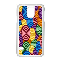 Circles Color Yellow Purple Blu Pink Orange Illusion Samsung Galaxy S5 Case (white)