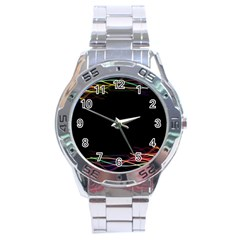Colorful Light Frame Line Stainless Steel Analogue Watch
