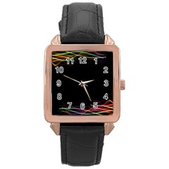 Colorful Light Frame Line Rose Gold Leather Watch  by Alisyart