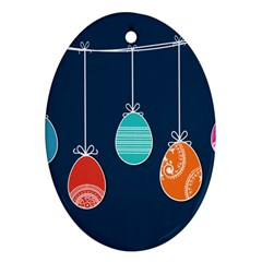 Easter Egg Balloon Pink Blue Red Orange Ornament (oval) by Alisyart