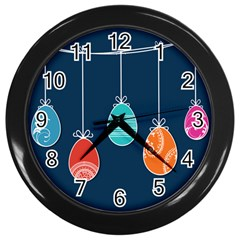 Easter Egg Balloon Pink Blue Red Orange Wall Clocks (black) by Alisyart