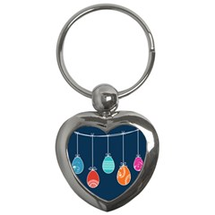 Easter Egg Balloon Pink Blue Red Orange Key Chains (heart)  by Alisyart