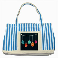Easter Egg Balloon Pink Blue Red Orange Striped Blue Tote Bag by Alisyart