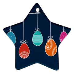 Easter Egg Balloon Pink Blue Red Orange Star Ornament (two Sides)