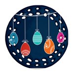Easter Egg Balloon Pink Blue Red Orange Ornament (Round Filigree) Front