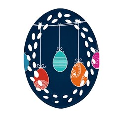 Easter Egg Balloon Pink Blue Red Orange Ornament (oval Filigree)