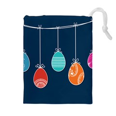 Easter Egg Balloon Pink Blue Red Orange Drawstring Pouches (extra Large) by Alisyart