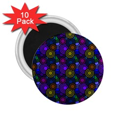 Circles Color Yellow Purple Blu Pink Orange 2 25  Magnets (10 Pack)