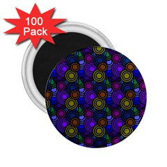 Circles Color Yellow Purple Blu Pink Orange 2 25  Magnets (100 Pack)