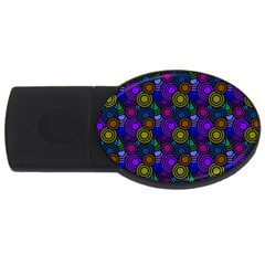 Circles Color Yellow Purple Blu Pink Orange Usb Flash Drive Oval (2 Gb)