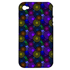 Circles Color Yellow Purple Blu Pink Orange Apple Iphone 4/4s Hardshell Case (pc+silicone)