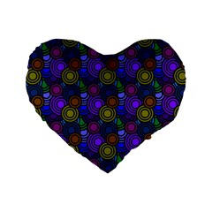 Circles Color Yellow Purple Blu Pink Orange Standard 16  Premium Heart Shape Cushions by Alisyart