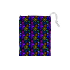 Circles Color Yellow Purple Blu Pink Orange Drawstring Pouches (small)