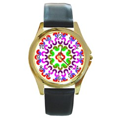 Decoration Red Blue Pink Purple Green Rainbow Round Gold Metal Watch by Alisyart