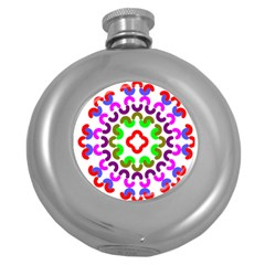 Decoration Red Blue Pink Purple Green Rainbow Round Hip Flask (5 Oz) by Alisyart