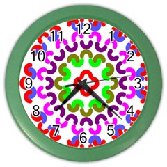 Decoration Red Blue Pink Purple Green Rainbow Color Wall Clocks by Alisyart