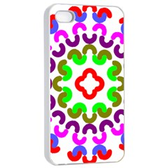 Decoration Red Blue Pink Purple Green Rainbow Apple Iphone 4/4s Seamless Case (white)