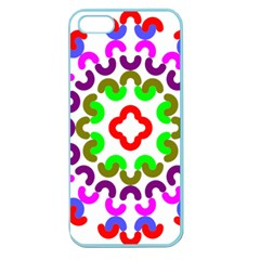 Decoration Red Blue Pink Purple Green Rainbow Apple Seamless Iphone 5 Case (color)
