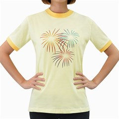 Fireworks Orange Blue Red Pink Purple Women s Fitted Ringer T Shirts
