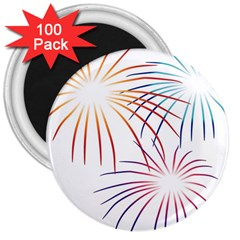 Fireworks Orange Blue Red Pink Purple 3  Magnets (100 Pack) by Alisyart