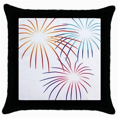 Fireworks Orange Blue Red Pink Purple Throw Pillow Case (black)