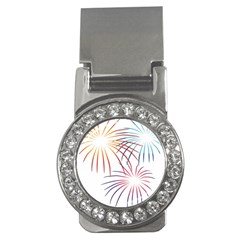 Fireworks Orange Blue Red Pink Purple Money Clips (cz)