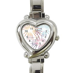 Fireworks Orange Blue Red Pink Purple Heart Italian Charm Watch by Alisyart