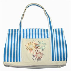 Fireworks Orange Blue Red Pink Purple Striped Blue Tote Bag by Alisyart