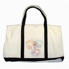 Fireworks Orange Blue Red Pink Purple Two Tone Tote Bag by Alisyart