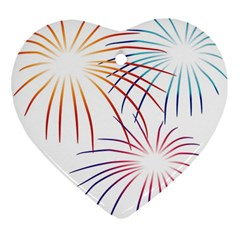 Fireworks Orange Blue Red Pink Purple Heart Ornament (two Sides) by Alisyart