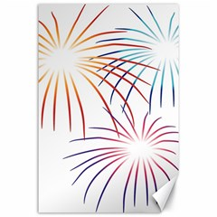 Fireworks Orange Blue Red Pink Purple Canvas 24  X 36